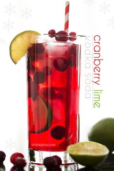 My Go To Holiday Cocktail - Cranberry Lime Vodka Soda – Quick, easy, festive, and low in sugar! Lime Cocktail Recipes, Cocktail Drinks, Alcoholic Drinks, Holiday Cocktails, Holiday Desserts, Christmas Drinks, Christmas Ideas, Dessert Drinks, Yummy Drinks
