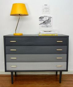 Gorgeous midcentury dresser with reverse gray ombre (dark graduating to light.) And a couple hits of yellow to complement. Funky Painted Furniture, Refurbished Furniture, Paint Furniture, Repurposed Furniture, Home Decor Furniture, Furniture Projects, Furniture Makeover, Home Furnishings, Furniture Design