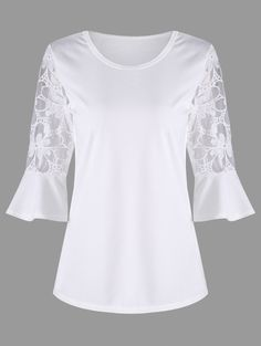 See Through Bell Sleeve Top - WHITE L