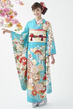 古典柄振袖 水色|古典|成人式は上品で優雅な古典振袖 Traditional Japanese Kimono, Traditional Dresses, Yukata, Japanese Beauty, Japanese Girl, Kabuki Costume, Japan Outfit, Japanese Costume, Japanese Outfits