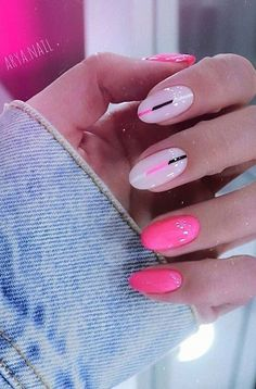 Bright Summer Acrylic Nails, Cute Summer Nails, Pink Summer, Pretty Nail Designs, Colorful Nail Designs, Acrylic Nails Coffin Ombre, Ongles Or Rose, Pin On, Neutral Nails