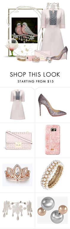 """""""Jeweled Lovebirds"""" by freida-adams ❤ liked on Polyvore featuring Lattori, Christian Louboutin, Michael Kors, Disney, Anne Klein, Miss Selfridge and French Connection"""