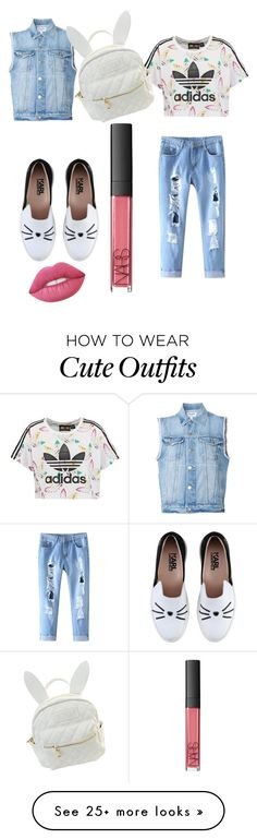 """""""My First Polyvore Outfit"""" by mcifgbhg on Polyvore featuring adidas Originals, Frame Denim, Karl Lagerfeld, Lime Crime, NARS Cosmetics and cutekawaii"""
