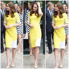 Kate have just arrived at Wimbledon, she's currently wearing the yellow Roksanda Ilincic dress which was first worn to Sydney back in 2014 during the Royal Tour to NZ and AUS.