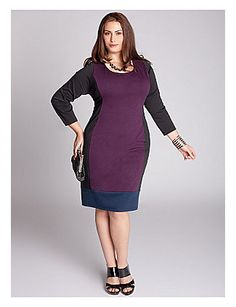 Blocks of color modernize this flattering illusion silhouette, styled with a wide round neckline and contrast bottom panel. We suggest accentuating this structured yet comfortable double knit dress with minimal gems and a low platform, lofty stiletto heeled pump. lanebryant.com