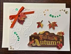 #Fall into #autumn #greetingcard #fancy #embellished by OccasionalNoteCards.etsy.com