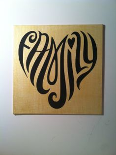 "Metallic Gold ""FAMILY"" (heart shaped) Canvas (8x8)"