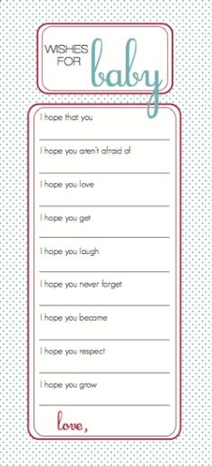 Wishing tree instruction card for baby shower 5x7 sign for Wishes for baby printable template