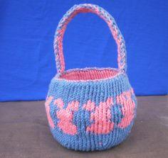 Reversible Bunny Knit Basket by katewalter1 on Etsy, $15.00