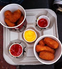 """Corn dog nuggets with ketchup and """"plastic cheese"""" from Casey's Corner at Magic Kingdom. Photo taken December 2011 by Allison Hughes."""