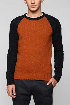 O'Hanlon Mills Nep Colorblock Sweater from Urban Outfitters Pullover Sweaters, Men Sweater, Color Block Sweater, Cable Knit, Snug Fit, Color Blocking, Gentleman, Urban Outfitters, Fitness Models