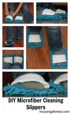 DIY Microfiber Cleaning Slippers - gets me excited about cleaning!