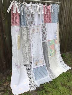 Shower Curtain Shabby French Nordic Chic Home Decor Vintage Crochet Vintage Embroidery Vintage Linen Bows Curtain Cottage Chic Nordic Chic Shabby Chic Shower Curtain Bathroom Curtain Cottage Chic Home Cortinas Shabby Chic, Shabby Chic Zimmer, Shabby Chic Vintage, Muebles Shabby Chic, Shabby Chic Style, Shabby Chic Decor, Vintage Linen, Rustic Decor, Shabby Chic Clothing