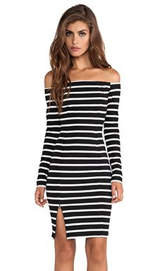 NICHOLAS Riviera Stripe Off Shoulder Long Sleeve Dress in Black & White | REVOLVE