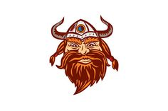 Viking Warrior Head Angry Isolated Retro Illustration of a head of a norseman viking warrior raider barbarian wearing horned helmet with beard viewed from the front set on isolated white background. #illustration #VikingWarriorHead
