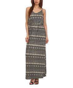 Black Geo Scoop Neck Maxi Dress #zulily #zulilyfinds