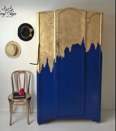 Furniture Makeover Ideas. Painted Furniture with Gold and Blue Paint.