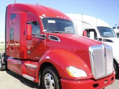 {{{LOVE}}} this 2014 Kenworth T680 Get the specs on our website!  #kenworth #red #semi  http://wallworktrucks.com