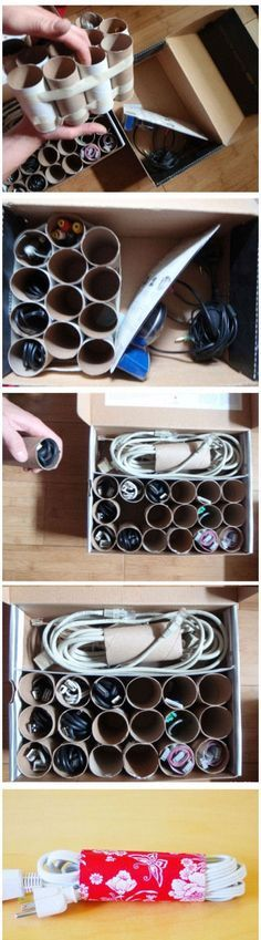 Rangement pour cables chargeurs - boite a chaussures / rouleau de papier wc / carton
