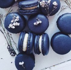 Blue macaroons which will sit in small basket near wedding cake. Space permitted