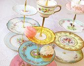 Alice Loves Layer Cake, 4 Tier Tea & Cupcake Stand with Cup for Wedding Display, Mad Hatter Birthday Party Centerpiece, Bright Dessert Tray