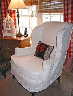 Matelasse Slip-covered Wingback Chairs