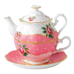 Amazon.com | Royal Albert New Country Roses Vintage Single Serving Teapot, Cheeky Pink: Tea Services: Teacups
