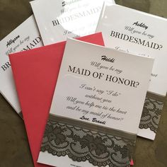 Aten't these cards with hot pink envelope a cute way of asking your bridesmaids? #willyoubemybridesmaid #weddingcard #willyoubemymaidofhonor