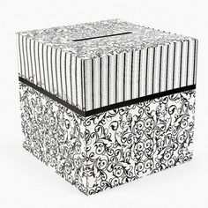 "Amazon.com: Black and White Wedding Card Box 12"" X 12"": Home & Kitchen"