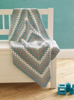 4-Color Granny Baby Blanket Pattern L10115B, Lion Brand Martha Stewart Crafts Extra Soft Wool Blend Yarn, Free