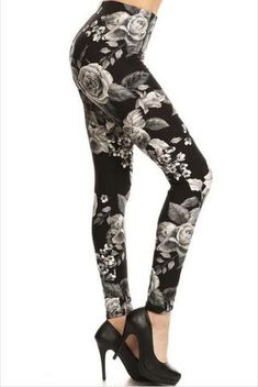 89e5bdb01666a Discovered by Cat ~ Products ~ White rose leggings ~ Shopify Women s  Leggings