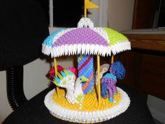 Carousel Origami 3d, Dollar Origami, Origami Flowers, Origami Ideas, Paper Oragami, 3d Paper, Paper Crafts, Iris Folding, Paper Folding