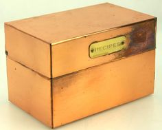 Vintage Solid Copper Recipe Box with Brass Colored Plate (Index Card size box) #weboys10