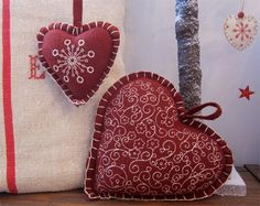 Red Felt Embroidered Hearts