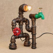 Rétro Table de la Conduite D'eau Lampe Vintage Lampe de Bureau Dimmable Rh Américain Rétro Fer De Chevet Lampe de Table Bar Robot Chambre(China)