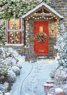 quenalbertini: Christmas illustration by Victor McLindon Christmas Garden, Christmas Scenes, Magical Christmas, Christmas Door, Christmas Past, Beautiful Christmas, Christmas Holidays, Christmas Wreaths, Christmas Decorations