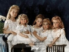 The last Imperial children of Russia, last descendants in the main line of Romanov dynasty, brutally murdered in 1918 for crime not commited, at the ages of 22, 21, 19, 17 and 13. From left to right:Grand Duchess Olga, Tsarevich Alexei, Grand Duchesses Tatiana, Maria and Anastasia. Year 1906