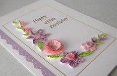 Quilled 65 tarjeta de cumpleaños, papel quilling, hecho a mano