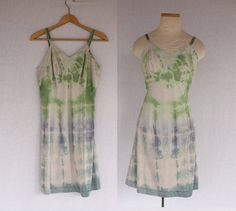Vintage Hand Dyed Flower Child Green Blue & Purple Tie Dyed Hippie Slip Sundress by TheThriftyBuddah, $14.00