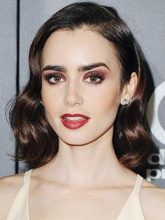 Hair colour ideas: Lily Collins with chocolate orange hair