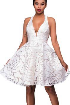Robe de Soiree Cocktail Patineuses Blanc Jacquard Dos Nu Pas Cher www.modebuy.com @Modebuy #Modebuy #Blanc #dress #Blanc #femme