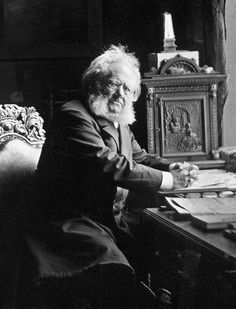 """""""A forest bird never wants a cage."""" Henrik Ibsen at his writing desk."""
