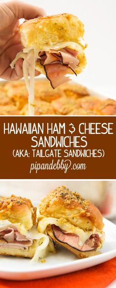 Sandwiches Hawaiian Ham and Cheese Sandwiches (aka: Tailgate Sandwiches) - BEST sandwiches ever.Hawaiian Ham and Cheese Sandwiches (aka: Tailgate Sandwiches) - BEST sandwiches ever. Deli Sandwiches, Tailgate Sandwiches, Tailgate Food, Appetizer Sandwiches, Appetizers, Tailgating, I Love Food, Good Food, Yummy Food