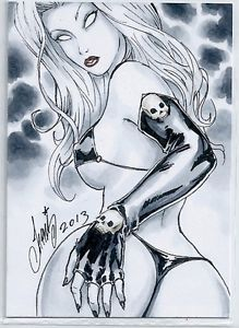 HM1 Sketch Card SEXY LADY DEATH 2 Hand Made 2.5 x 3.5 unique signed aceo