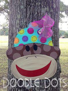 Sock Monkey Door Hanger by DoOdLeDotsAnDmOre on Etsy, $30.00