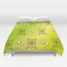 Yellow And Green Floral Bubble Abstract Duvet Covers by Judy Palkimas