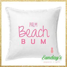 Beach Bum *Any City/Beach* Pillow Cover by SundaySouthern on Etsy https://www.etsy.com/listing/384630350/beach-bum-any-citybeach-pillow-cover - beach bum vacation tropical Lilly Pulitzer vineyard vines Miami beach palm beach myrtle beach Atlantic city Virginia beach Galveston Pensacola Daytona destin mobile riviera Malibu jones