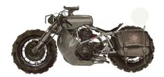 Icon's RIde Out bike, ready for the zombie apocalypse!  Even has a gun mount on the tank.
