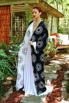 100% Cotton Kimono Robe Reversible Black and White Exclusive Block Print  Cotton Lingerie Cotton Sleepwear Bridal Lingerie Indian Summer d89b944ef491