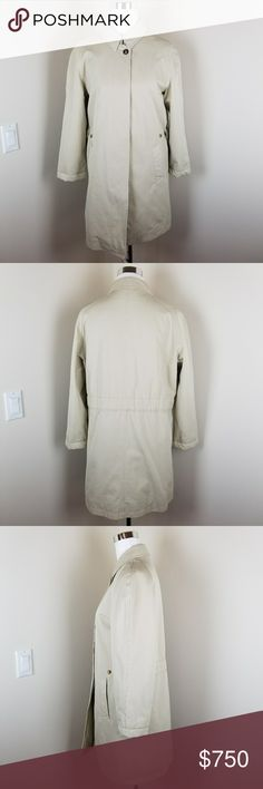 """{BURBERRY} Heavy Car Coat PRISTINE Condition PRISTINE!  Size: 12 (please review measurements, as this coat my run small) Color: Sandstone Retail Price: $1995 Measurements (taken laying flat, side to side): Chest 21""""; Waist 19.5""""; Length ~32""""  Cut with the clean lines of an outerwear classic, Burberry gives this neutral-hued car coat.  This coat has an insulated lining Adjustable button cinched waist Flap collar with hook-and-eye closure Long raglan sleeves Front concealed button placket…"""